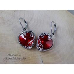 Kolczyki serca Swarovski Light Siam, wire wrapping