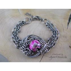 Bransoletka Agat różowo- czarno- szarym