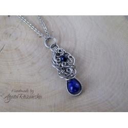 Wisiorek z lapis lazuli, wire wrapping