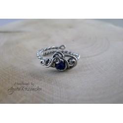 Pierścionek regulowany lapis lazuli, wire wrapping