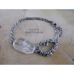Bransoletka z sercem, kryształ górski, wire wrapping