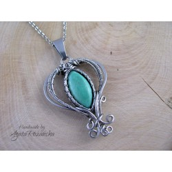 Wisiorek z Turkusem, wire wrapping