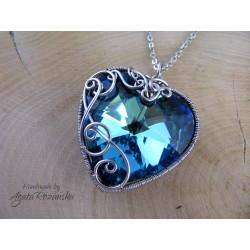 Wisiorek serce Swarovski Heart Bermuda Blue 28mm