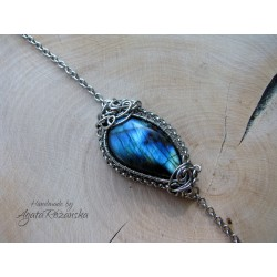 Bransoletka labradoryt, wire wrapping, stal chirurgiczna