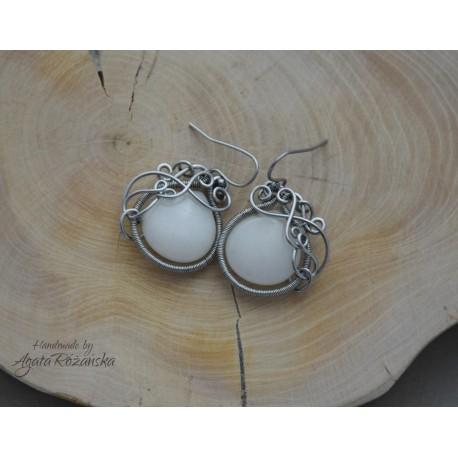 Kolczyki biały Jadeit, wire wrapping