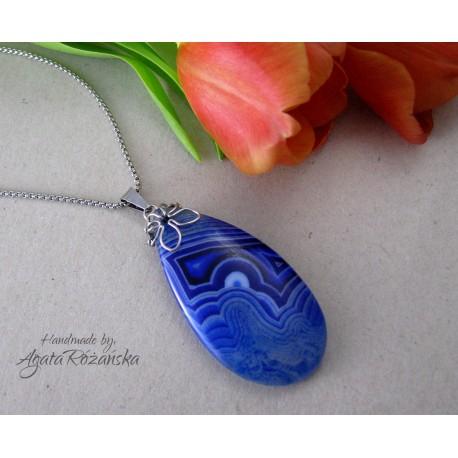 Wisiorek z plastrem Agatu niebieskiego