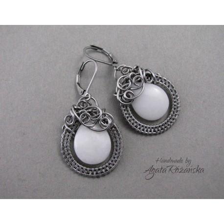 Kolczyki z białym jadeitem, wire wrapping
