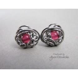 Kolczyki sztyfty z jadeitem różowym, wire wrapping