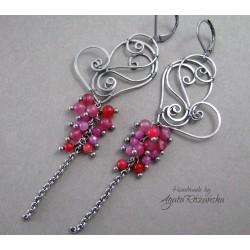 Długie kolczyki serca z  Jadeitami, wire wrapping
