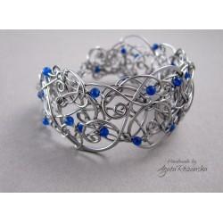 Bransoleta szeroka z niebieskim Agatem Brazylijskim