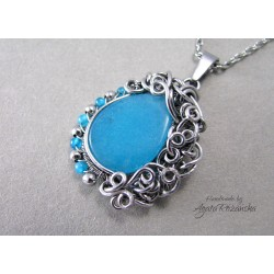 Wisiorek z Jadeitem błękitnym, wire wrapping