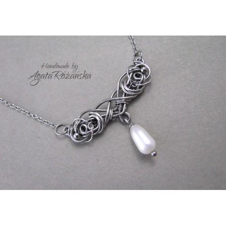 Naszyjnik z perłą Seashell, wire wrapping