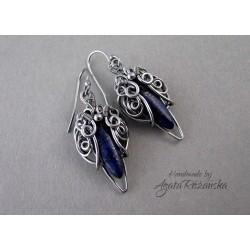 Kolczyki Lapis Lazuli, wire wrapping