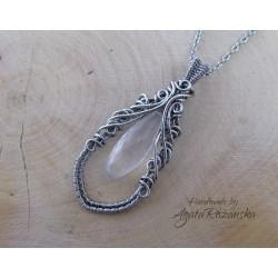 Wisiorek Kwarc Różowy, wire wrapping