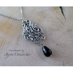 Wisiorek z Onyksem, wire wrapping