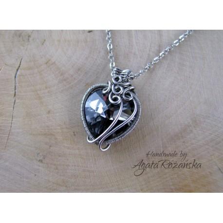 Kolczyki serca Swarovski Silver Light, wire wrapping