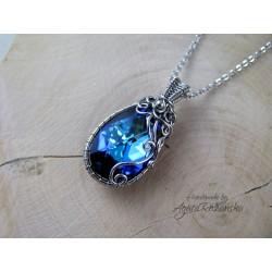 Wisiorek Swarovski Bermuda Blue, wire wrapping