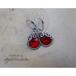 Kolczyki Swarovski Mini Pear Light Siam (czerwony)