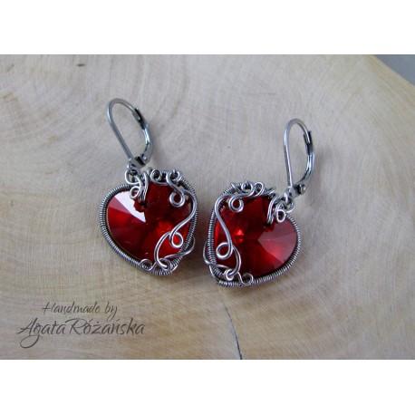 Kolczyki serca kryształowe