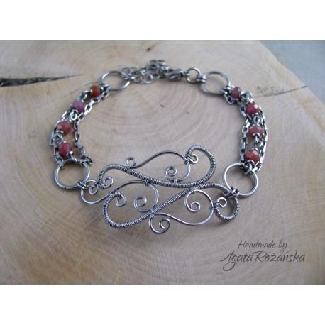 Bransoletka naturalny rubin, wire wrapping