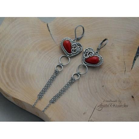 Kolczyki serca z Koralem czerwonym, wire wrapping