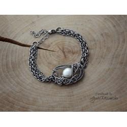 Bransoletka z perłami, wire wrapping