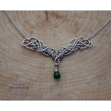 Naszyjnik z onyksem zielonym, wire wrapping
