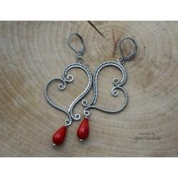 Kolczyki z Koralem czerwonym, wire wrapping