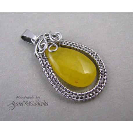 Wisiorek z żółtym Jadeitem