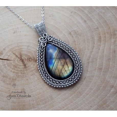Wisior Labradoryt, wire wrapping