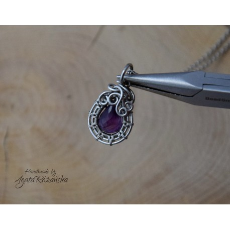 Wisiorek ametyst, wire wrapping