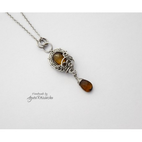 Wisiorek Kwarc piwny, wire wrapping