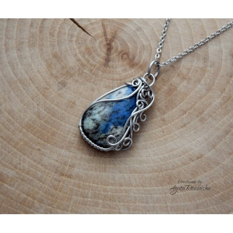 wisiorek jaspis k2, wire wrapping
