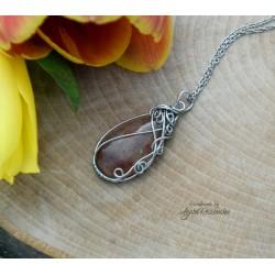 Wisiorek Kwarc truskawkowy, wire wrapping