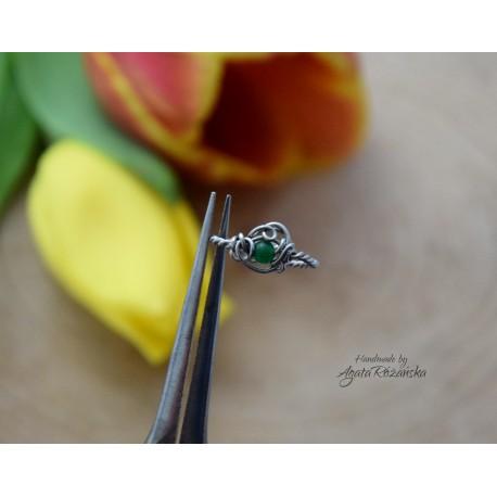 Pierścionek regulowany, jadeit, wire wrapping