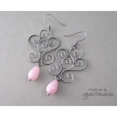 Kolczyki z różowym Jadeitem