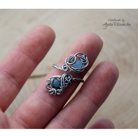 Pierścionek regulowany z chalcedonem, wire wrapping