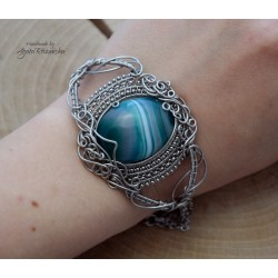 Bransoletka agat crazy lace, wire wrapping