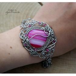 Bransoletka agat różowy, wire wrapping