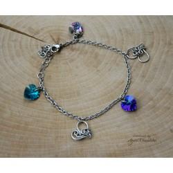 Bransoletka Swarovski Xilion Heart Peridot AB, wire wrapping