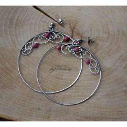 Kolczyki koła z rodonitem, okrągłe, wire wrapping