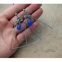 Kolczyki trójkąty z chalcedonem, wire wrapping