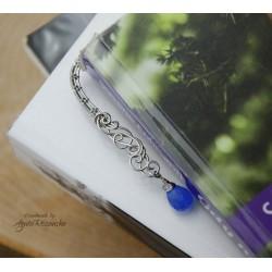 Zakładka do książki z agatem mszystym, wire wrapping