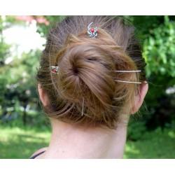 Szpilki do włosów z koralem, wire wrapping