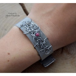 bransoletka pasek  z rodonitem, wire wrapping, stal chirurgiczna