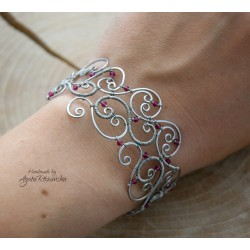 Bransoletka rubin, wire wrapping, stal chirurgiczna