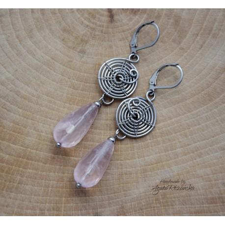 Kolczyki z kwarcem różowym, wire wrapping