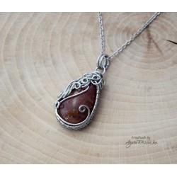 Wisiorek Kamień słoneczny, wire wrapping
