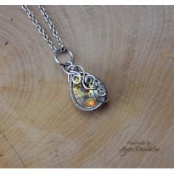 Wisiorek kryształ Swarovski Crystal AB, wire wrapping