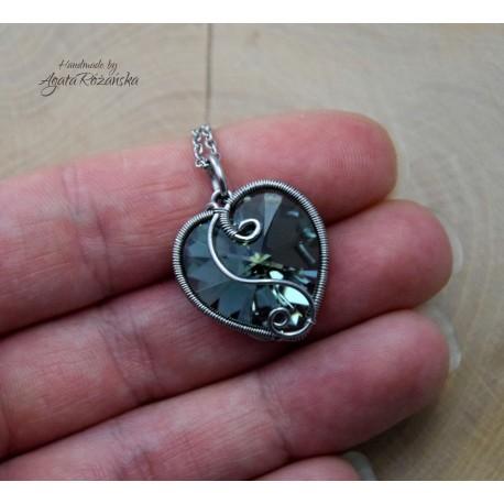 Wisiorek serce kryształowe, wire wrapping